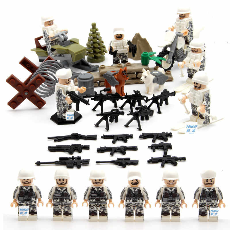 WW2 brickmania figures russia Snowfield Surprise troops block world war Soviet Union army forces dog minifigs weapon bricks toys