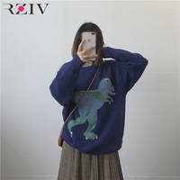 RZIV autumn women sweater loose casual solid color cartoon dinosaur jacquard sweater oversized knitted top
