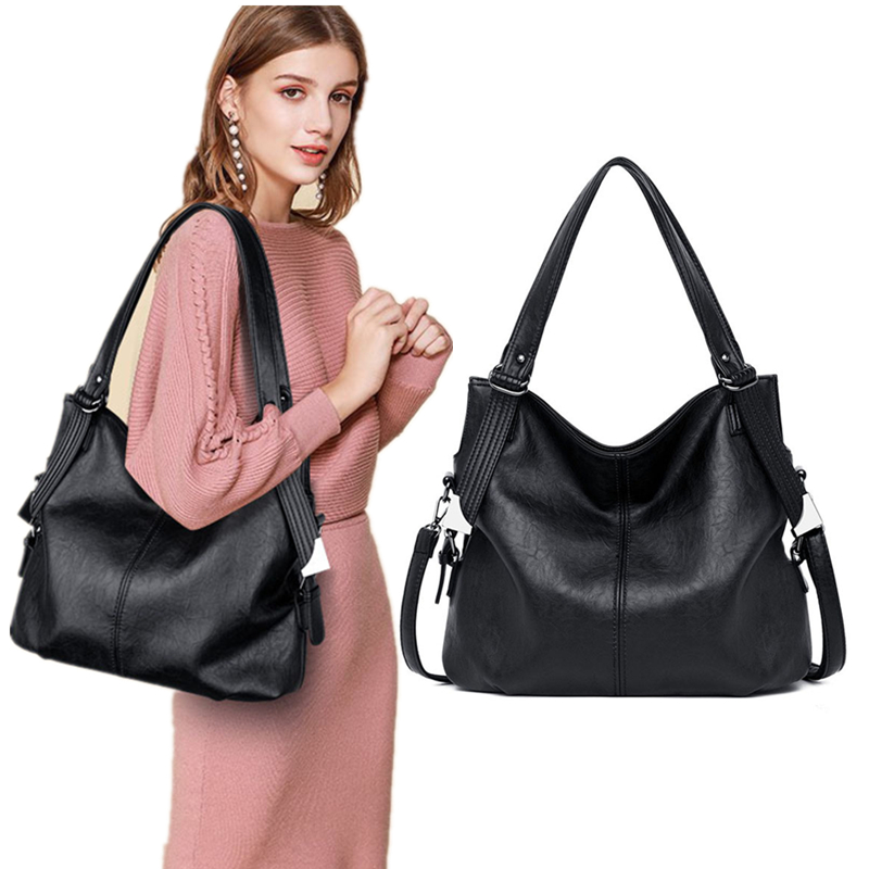 2019 New Fashion Women Leather Handbags Female Genuine Leather Shoulder Crossbody Bag Ladies Large Bucket Tote Bag Black Red