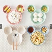 Детская тарелка «Микки Маус», посуда с мультяшной мышкой, Ланч-бокс, детская миска для кормления риса, пластиковая тарелка, посуда