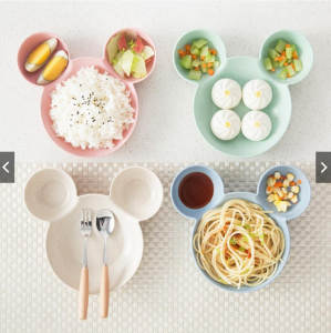 Bowl Dishes Tableware Snack-Plate Mouse Lunch-Box Rice Plastic Baby Mickey Children Cartoon