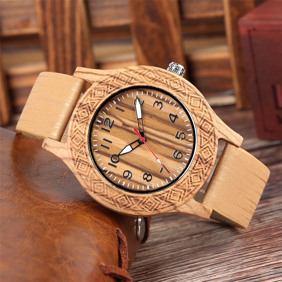 Classic Engraved Pattern Wooden Watch for Men Women Retro Fashion 3