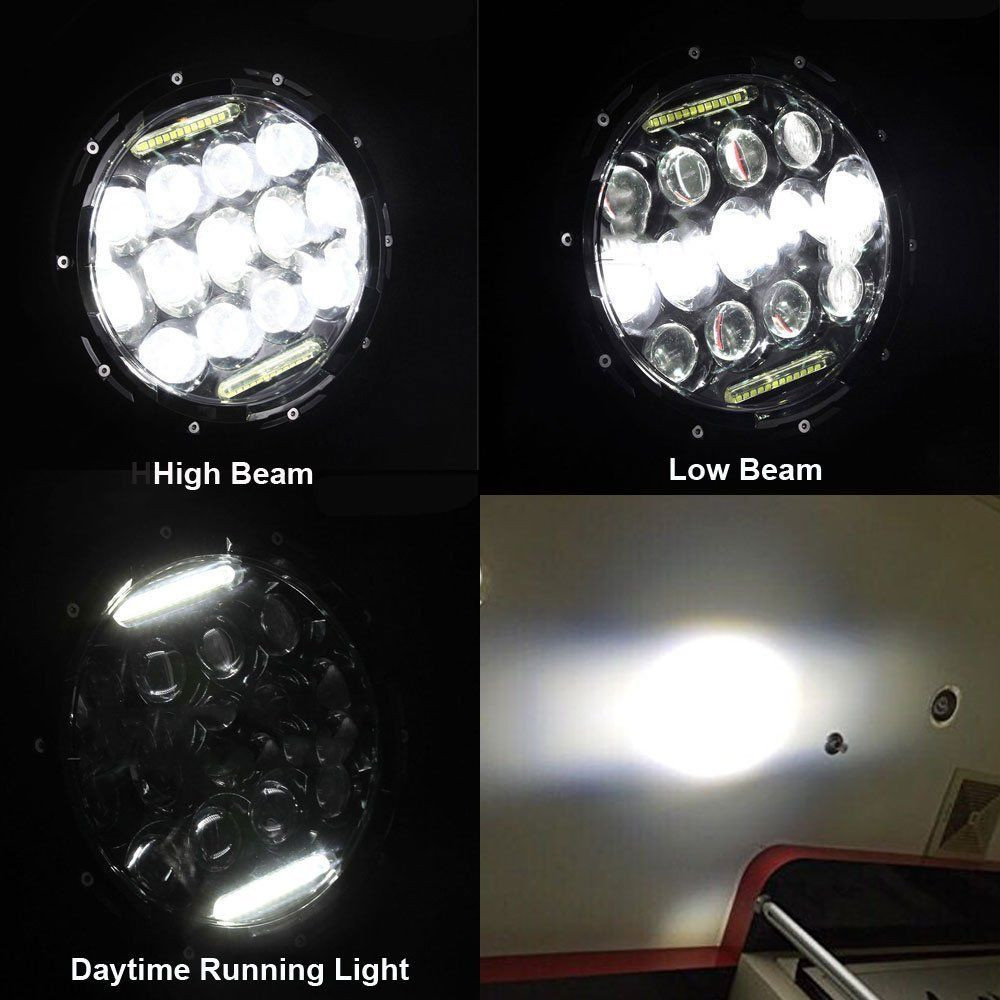 1x 7 75W Phillips Round LED Headlight + 4.5 Passing Lights For Harley Davidson (1)
