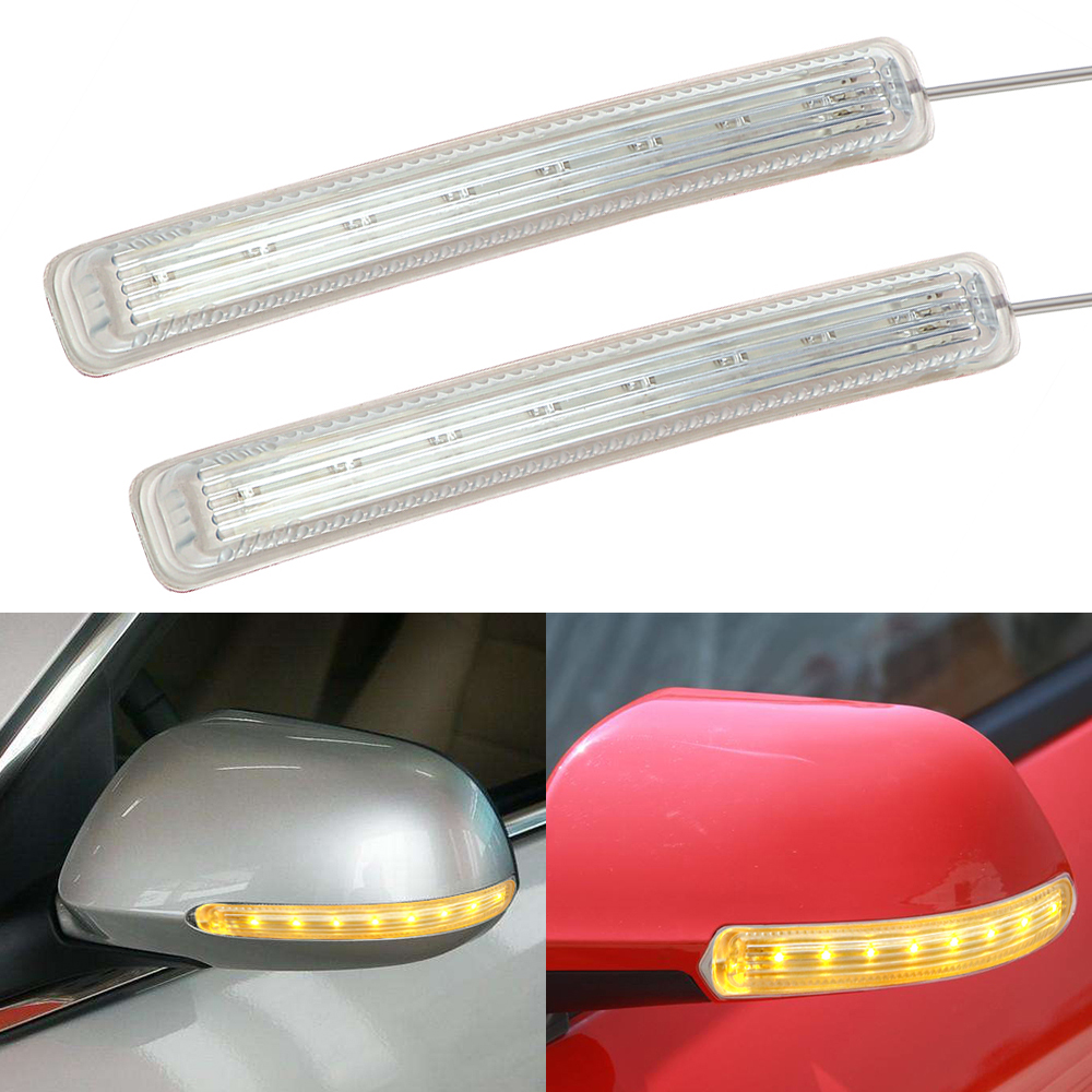 2PCS Car Light Source Auto Rearview Mirror FPC Turn Signal Light Soft LED Indicator Lamp 9 SMD Car-styling DC 12V Amber wholesale taxi led light auto indicator lamp vehicles car windscreen cab sign white led taxi lamp 12v car styling free shipping