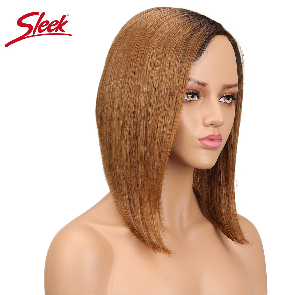 Sleek Remy Straight Human Hair Wigs Non Lace Bob Wig Side Part Wigs Brazilian Hair TT1B/30 Hair Extension