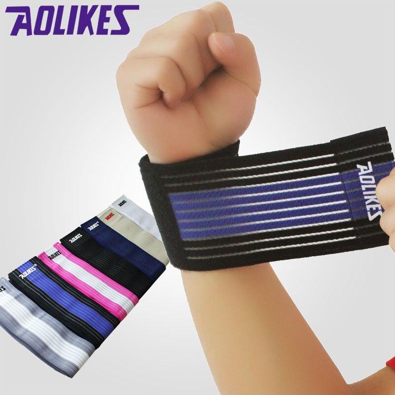 1pcs Sport Cotton Elastic Bandage Hand Sport Wristband Gym Support Wrist Brace Wrap Fitness Tennis polsini sweat band sport cotton wrist brace wrap support black