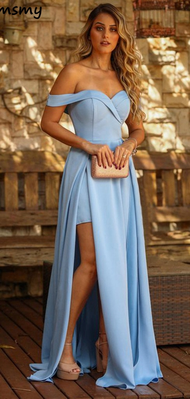 New Chiffon Sweetheart Evening Dress Side Split Prom Dress A-Line  Pleat  Floor Leng Ruchned Off Shoulder Custom Made