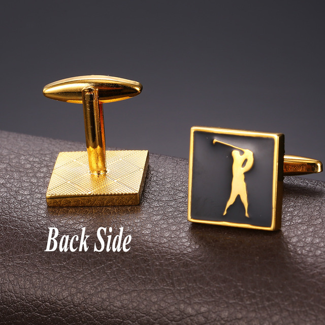 U7 Cufflinks Mens Enamel Jewelry Gold Color Cuff Links Golf Box