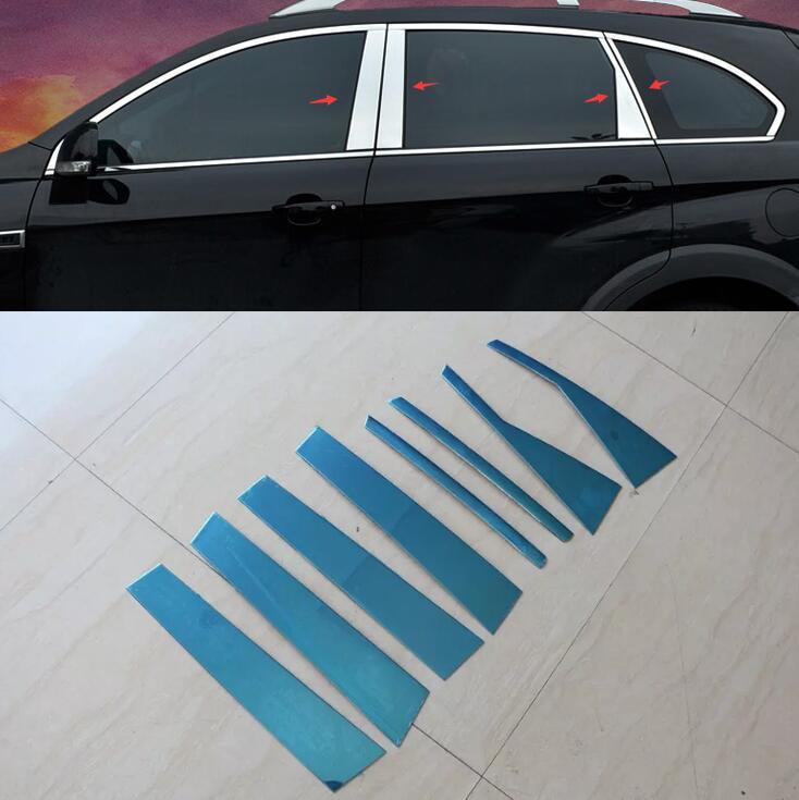 8pcs Chrome Central Window Pillar Posts Cover Trim For Chevrolet Captiva 2012 2013 2014 2015 Car Styling