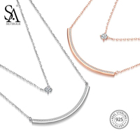 SA SILVERAGE 925 Sterling Silver Two Layer Chain Necklaces Long Bar Pendants Necklace With Round Rhinestone Gold Color/Silver