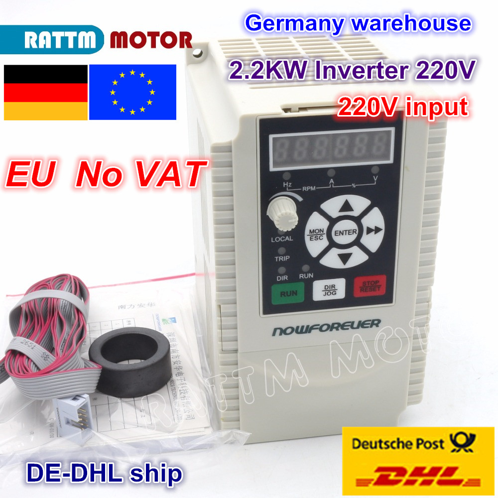 цена на DE ship High quality 2.2KW 220V 1-3 phase Variable frequency driver Inverter VFD 2HP for CNC Spindle motor Speed control