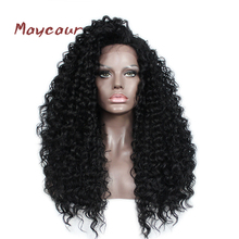 Maycaur Kinky Curly Lace Wigs Black Hair High Density Long Hair Synthetic Lace Front Wigs