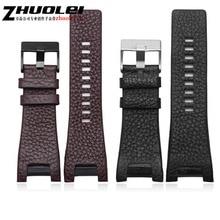 32*17mm black brown genuine leather with stainless steel clasp watchband strap Dedicated men fit Diesel DZ4246 DZ1273b Bracelet