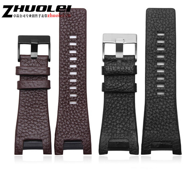 32*17mm black brown genuine leather with stainless steel clasp watchband strap D