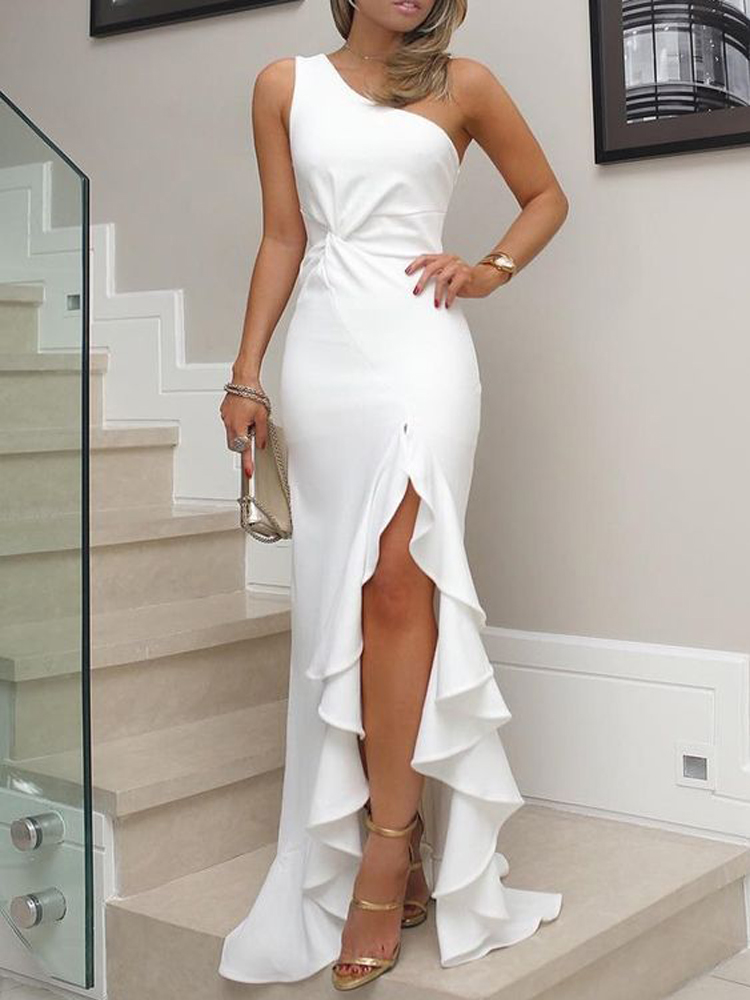 White   Prom     Dresses   2019 Simple One Shoulder Ruffles Split Sleeveless Sexy Formal Party Gowns vestidos de fiesta largos elegantes