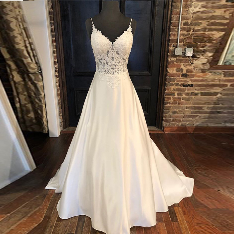2019 Elegant Wedding Dresses A-line Appliques Spaghetti Straps Vestido De Noiva Illusion Bodice Backless White Wedding Gowns