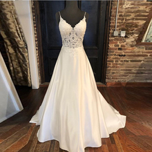 Elegant Wedding Dresses A line Appliques Spaghetti Straps Vestido De Noiva Illusion Bodice Backless White Wedding Gowns