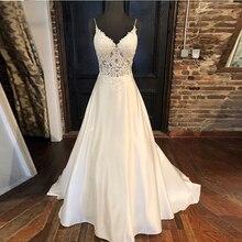 Elegante vestidos de casamento a linha apliques cintas de espaguete vestido de noiva ilusão corpete sem costas branco