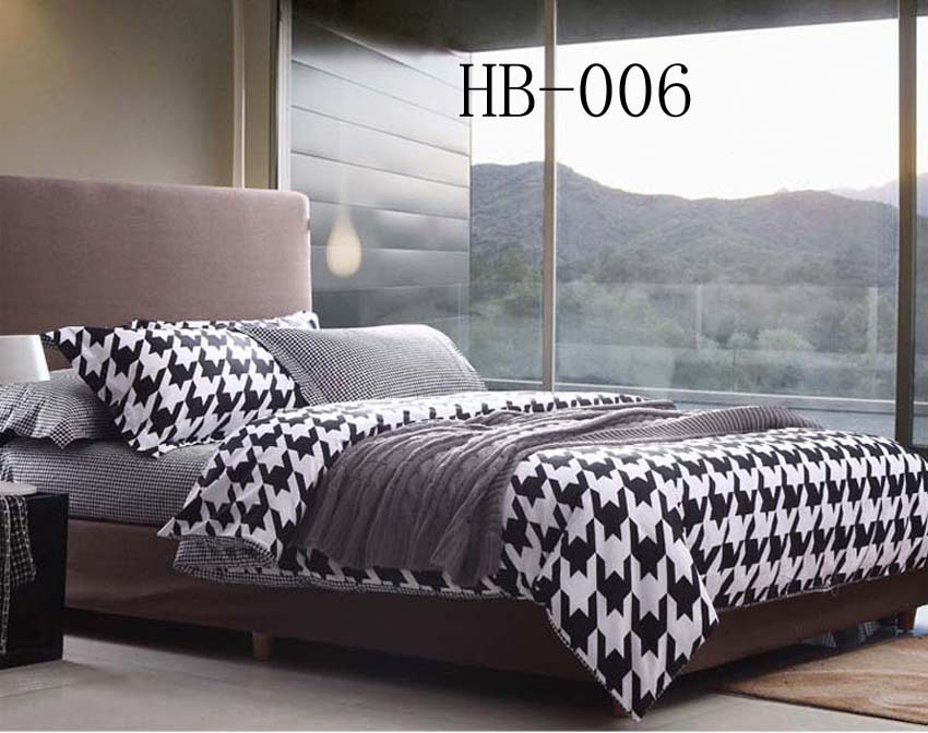 New Black And White Houndstooth Full Queen Size Cotton