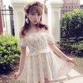 Принцесса сладкая лолита платье BoBON21 оригинальный дизайн росы плечо от пуховкой рукав креста по bышивке цветы печать платье D1232