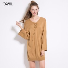 ORMELL Lace Up Long Knitted Sweater Dress Women Cotton Slim Casual Dress Pullover Female Autumn Winter