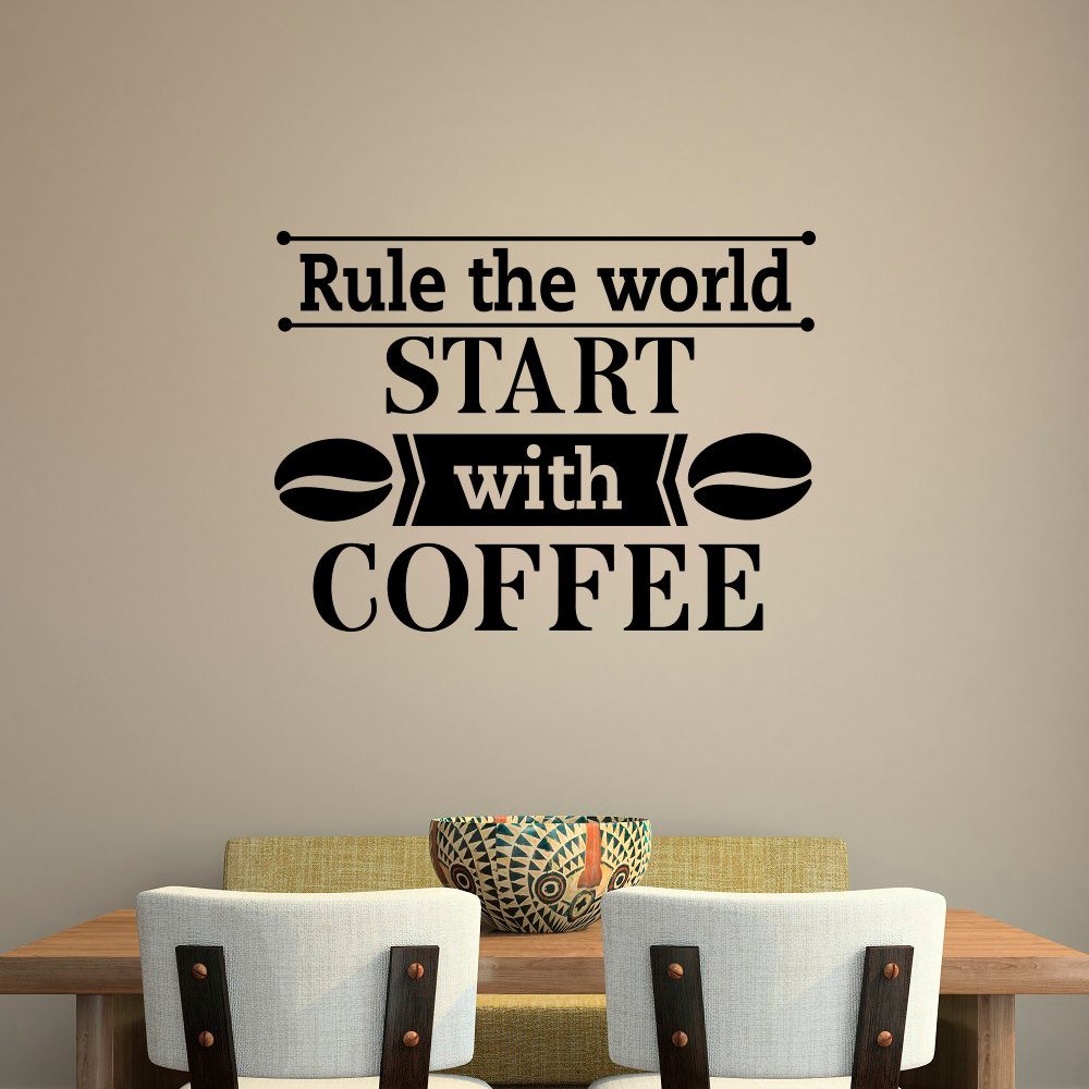 Coffee cafe wall decal quotes rule the world start with coffee coffee cafe wall decal quotes rule the world start with coffee wall stickers for kitchen cafe shop interior vinyl home diysyy721 in hair clips pins from amipublicfo Images