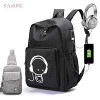 Raged Sheep School Backpack Luminous Animation School Bags For Teenager USB Charge Computer Anti Theft Laptop