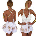 snowshine #3065 Women Lace Printing V Neck Strap Sleeveless Jumpsuit Rompers Playsuit free shipping