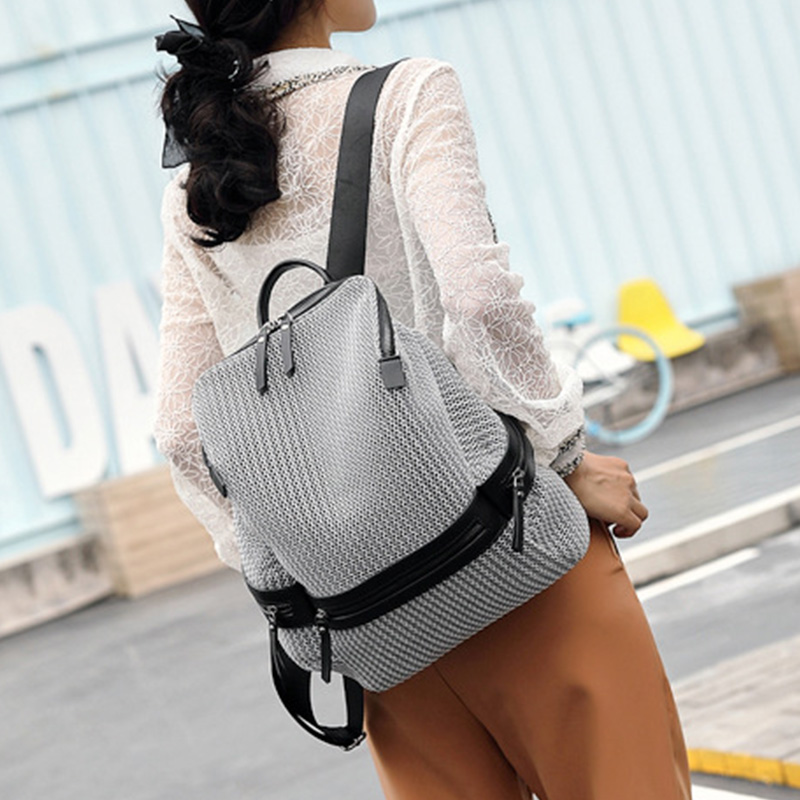 New Design Mesh Breathable Women Backpack For Teenage Girls Patchwork Casual School Backpack Female Nylon Rucksack Ladies Bag