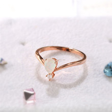 ROMAD Opal Stone Engagement Rings for Women Rainbow Finger Ring 2108 Fashion Rose Gold Wedding R4