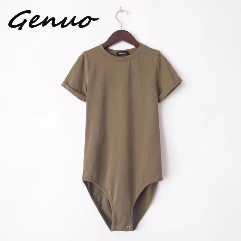 Genuo New 2019 Romper Body for Women Sexy Bodysuits 2019 New Summer Female Jumpsuit Overalls Short Sleeve Playsuit in Bodysuits from Women 39 s Clothing