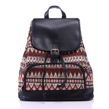 Personality Bohemia Travel Backpack Women Large Capacity Canvas Shoulder Schoolbags Ethnic Preppy Style Rucksack mochilas