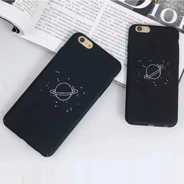 CIDERENA Mobile Shell 1 Pc/lot Scrub Hard PC Minimalist Planets Patterned Cell  Phone Case Back Cover For IPhone 8 7 6s Plus