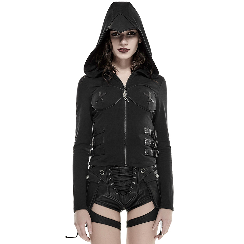 Steam Punk Women Back Hollow out Coat with Hoody Cosplay Style Black Long Sleeve Jacket Coats