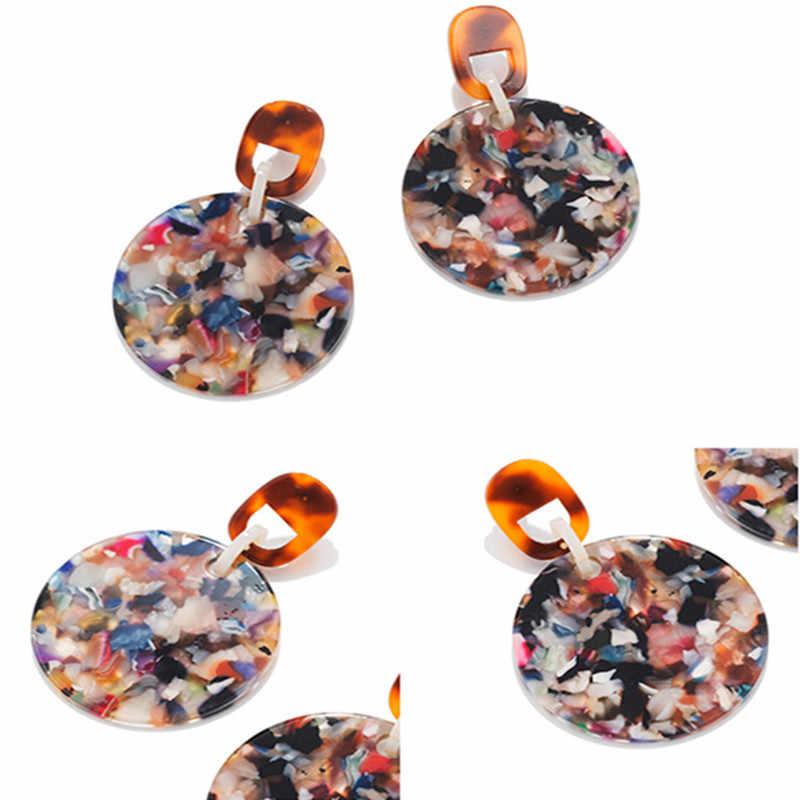 Exaggeration Za Acrylic Earrings For Women Big Statement Multi-Color Resin Drop Earrings 2019 Female Earrings Wedding jewelry