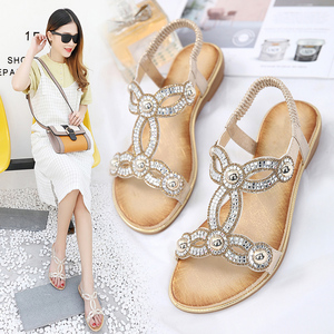 Image 4 - BEYARNE sandalias para mujer con cuentas de flores y diamantes de imitación, zapatos de verano, calzado de verano, estilo europeo, diamantes de imitación, talla grande