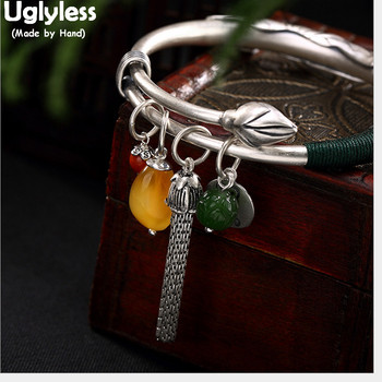 Uglyless 100% Real Solid 990 Pure Silver Lotus Bangles for Women Amber Gemstone Charm Bangle Chains Tassel Bracelets Leaf Ethnic