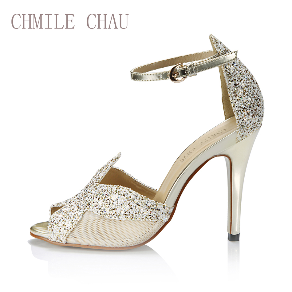 5b7c4e8896fb CHMILE CHAU Gold Glitter Sexy Party Shoes Women Peep Toe Stiletto Super  High Heels Ankle Strap Lady Sandal Zapatos Mujer 5186-12