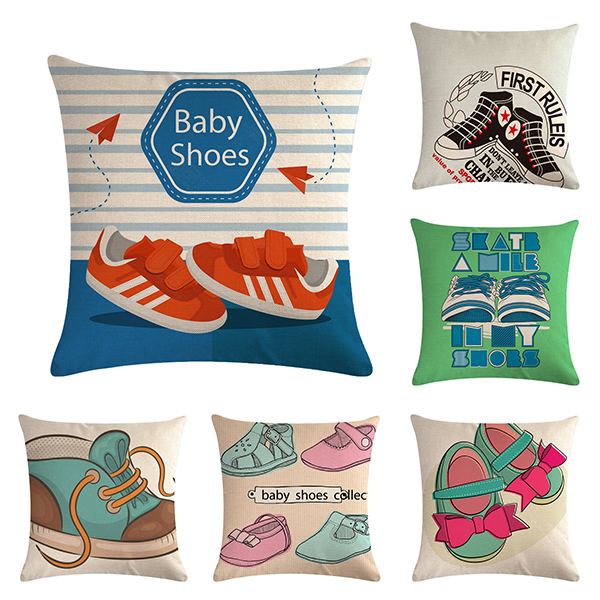 45 * 45 Cm Cute and Compact Baby Shoe Pattern Cushion Cover Square Sofa Pillow Sleeve Suitable for Home Decoration image