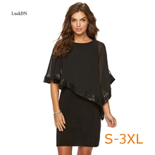 3XL плюс Размеры Для женщин сезон: весна–лето платье Мода рюшами блестки покрывают рукавом Тонкий Карандаш Платья вечерние работы деловая модельная одежда Vestidos