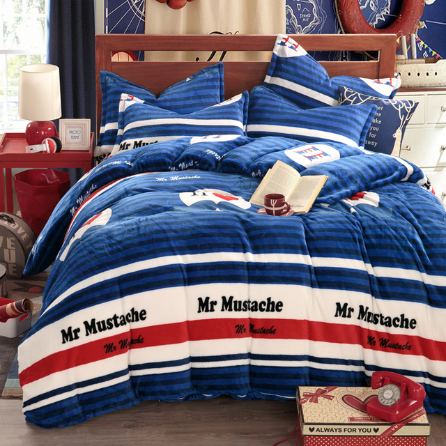 Mustache Comforter Sets Pattern Bed Linen Blue Bedding Sets Striped