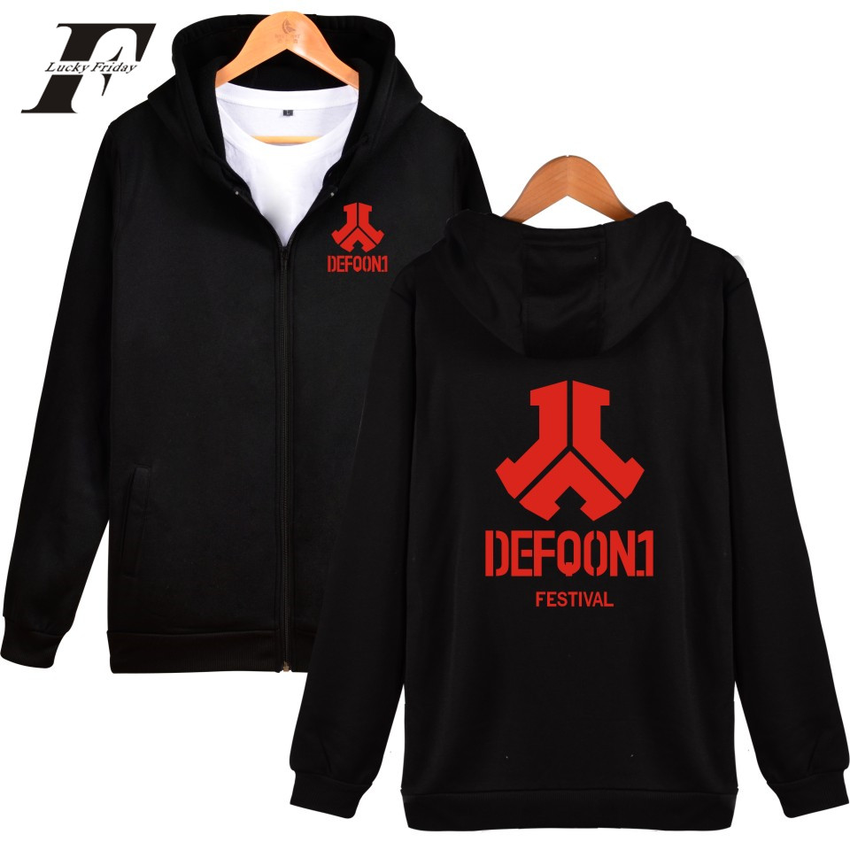 LUCKYFRIDAYF 2017 Defqon.1 Spring Autumn New Style Zipper Hoodies Men/Women Cap DJ Music Festival Rocking Sweatshirt Plus Size