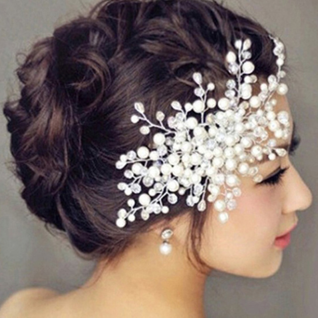 bridal headpiece headband wedding bride hair accessories crystal combs for women hair ornaments braid jewelry pearl