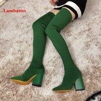 Бедра высокие носки сапоги Для женщин зеленый вязаный на необычном каблуке сапоги без застежек Мягкие Длинные острый носок эластичные сапо