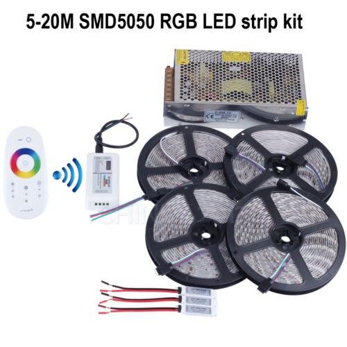 20 m 12 V RGB led bande lumineuse SMD5050 5 M 300led étanche + contrôleur tactile RF + adaptateur 12 V 20A + amplificateur RGB 3 pièces