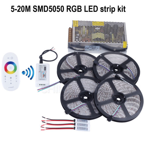 20m 12V RGB led strip light SMD5050 5M 300led Waterproof+RF touch controller+12V 20A adapter +3 pcs RGB Amplifier