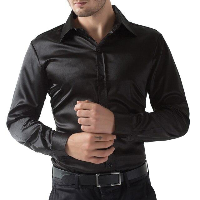 94f25469b Homens de luxo de seda como cetim vestido preto / vinho vermelho / roxo  blusa homens