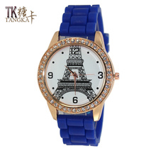 2017 new women watches fashion Paris tower pin button type Clockwise display quartz women watch leisure relojes