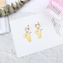 Korean INS Cute Creative Cartoon Orange Juice Cup Woman Girls Clips Earrings Fashion Jewelry-LAF