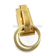 10x Spring Buckle Clip Belt Double Loops Keychain Key Chain Ring Keyfob Golden